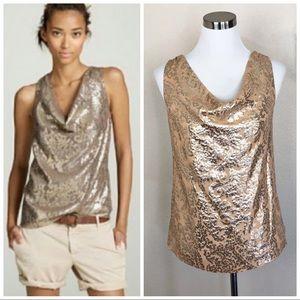 •J.CREW• Metallic Gold Silk Khloe Jacquard Cami